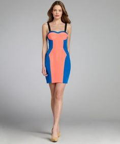 Rebecca Minkoff : coral and cerulean silk colorblocked 'Claudia' bustier dress