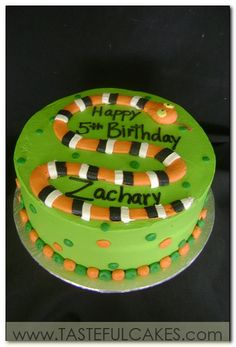 good idea for a boys cake, make the snake in the shape of the number Halloween Birthday Cakes, Animal Birthday Cakes, Winter Birthday, 7th Birthday, Snake Cakes, Snake Party, Reptile Party, Cake Pictures, Specialty Cakes
