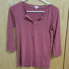 Orange V-Neck Split Neck Button Up Long Sleeve Perfect condition. Super soft material. 100% cotton GAP Tops Tees - Long Sleeve