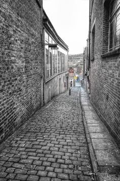 A cobbled street in Macclesfield, Cheshire.UK