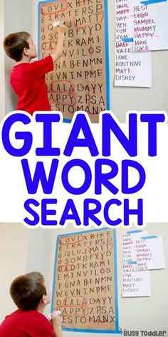Giant Word Search Activity: Literacy activity for kids; learning to read activity from Busy Toddler activities for kids Giant Word Search Activity for Kids - Busy Toddler Sight Word Activities, Literacy Activities, Toddler Activities, Toddler Learning, Learning Activities For Kids, Kindergarten Reading Activities, Kindness Activities, Home Learning, Teaching Kids