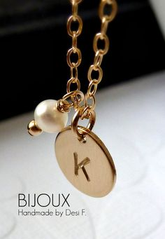 Initial Birthstone Disc Necklace  14K Goldfilled  by bijouxbydesif, $33.00