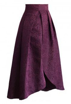Tulip Fairy Embossed Midi Skirt in Plum - Skirt - Bottoms - Retro, Indie and Unique Fashion