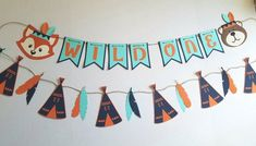 These banners are perfect for wall decor, nursery or party decor.   Teepee banner measures 5 feet plus extra for hanging. Wild one banner measures roughly 4 feet depending on how far you space it out. *colors are Navy, orange and aqua. If you would like something else let me know.  *fox