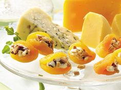 Amaretto Cheese-Filled Apricots - cream cheese, dried cherries, almonds and amaretto....save me!