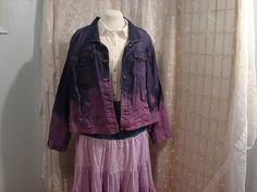BOHO Cottage Shabby Chic Upcycled Bleached Dyed Purple Denim Jacket Bohemian Junk Gypsy Free People Style Size 4X Large   A Beautiful Bleached then dyed purple denim jacket. Bohemian BOHO Junk Gypsy F