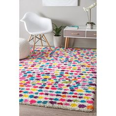 Rugs USA Multi Radiance Kids Dotted Striped Shag rug - Contemporary Rectangle x