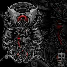 samurai demons artwork i did for blacklimited co. #clothing #japan #artwork #demon #yellowmushi #merch