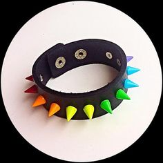Rainbow Double Spiked Genuine Leather Pride Bracelet by ToxifyDesigns on Etsy