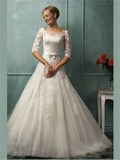 2014 White Ball Gown Scoop Neck Sashes Half Sleeves Lace Tulle Wedding Dresses Bridal Gowns AWD57003