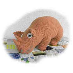 RAFIKI the RHINO toy knitting pattern by Georgina Manvell Knitting pattern by theoldtoyknittingshop | Knitting Patterns | LoveKnitting