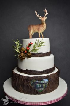 Deer Cake by JarkaSipkova Birthday Cakes For Men, Hunting Birthday Cakes, Fox Cake, Deer Cakes, Woodland Cake, Occasion Cakes, Fancy Cakes, Celebration Cakes, Shower Cakes