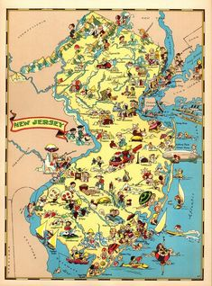 Pictorial Map Highways and byways of Girl Scouting Scouts Wall Art Poster Vintag