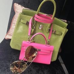 Different shades of pink and green, Hermès