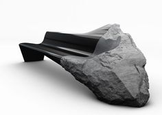 Ancient volcanic rock and carbon fibre spliced together in Onyx sofa by Peugeot Design Lab.
