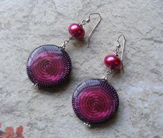 Magenta Pearl and Decoupage Earrings 2 3/4 by MarteenysJewelry, $10.00