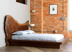 natural wood slab headboard