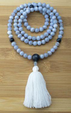 Mala Beads - Blue Lace Agate Meditation Mala Necklace With Blue Tigers Eye
