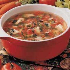 Harvest Turkey Soup Recipe -The recipe for this super soup evolved over the years. I've been diabetic since I was 12, so I've learned to use herbs and spices to make dishes like this taste terrific. It also has a colorful blend of vegetables.  -Linda Sand, Winsted, Connecticut