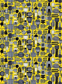 Marimekko Puutarhurin parhaat -kangas (keltainen,valko,musta)
