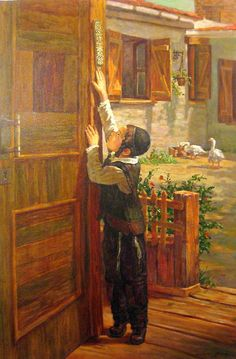 Kissing the Mezuzah-Love this. I have a mezzah on our front door and bedroom door and bought one recently for our daughter. Louise Glass