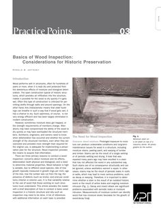 "APT Bulletin - Practice Point  No. 3 ""Basics of Wood Inspection: Considerations for Historic Preservation"" By: Ronald W. Anthony"