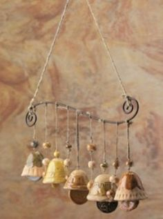***good idea for all those miscellaneous bells I have Ceramics Projects, Clay Projects, Clay Crafts, Mobiles, Ceramic Clay, Ceramic Pottery, Biscuit, Deco Originale, Hand Built Pottery