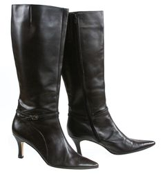 Vero Cuoio Black Pointed Toe Buckle Embellished Slim Heel Leather Calf Boot 12M #VeroCuoio #MidCalfBoots #Casual