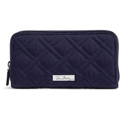 Vera Bradley RFID Georgia Wallet in Classic Navy ($58) ❤ liked on Polyvore featuring bags, wallets, classic navy, blue wallet, zip wallet, zip bag, navy blue bag and coin bag