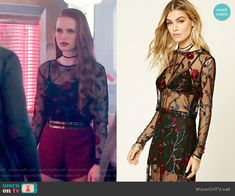 Cheryl's sheer floral embroidered top on Riverdale.  Outfit Details: https://wornontv.net/67265/ #Riverdale