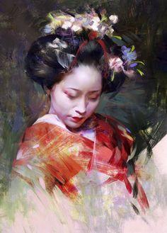 ArtStation - Geisha portrait series, Wangjie Li