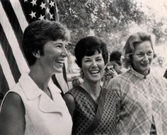 Wives of the three Apollo 11 astronauts make a joint appearance at one of their homes near the Space Center in Houston as their h...