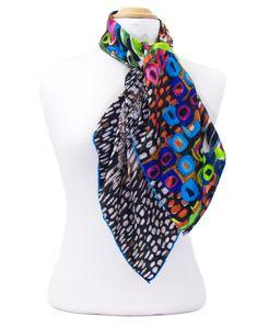 foulard carré de soie vert colorima