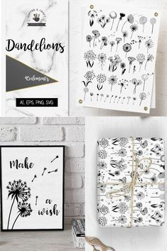 Use beautiful dandelion graphic elements to create whimsical doodles in you Journal Layout, Journal Ideas, Pictures To Draw, Repeating Patterns, Diy Cards, Printable Wall Art, Wall Decals, Dandelion, Doodles