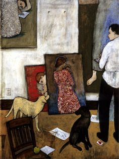 Brian Kershisnik, Dogs with Paintings of Women