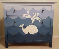 Whale dresser for nautical themed nursery