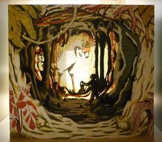 Diorama, Claire Hannicq. Possibly cut paper?  Love the layers, going further in, deeper.