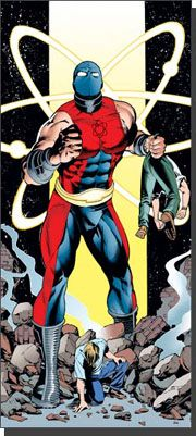 Al Rothstein is a super-hero with the ability to grow in size and incredible strength. Son of the Golden Age hero The Atom, he is part of a costumed legacy. Originally he used the name Nuklon, although he later evolved to become Atom Smasher.