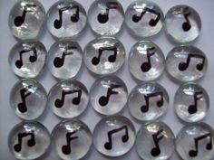 Handpainted glass gems music notes music by GlassGemsbyChristine, $4.00