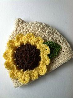 Sunflower Pixie Crochet Baby Hat ~ free pattern  0-12 mo.