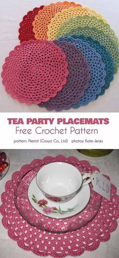 Tea Party Placemats Free Crochet Diagram (Your Crochet) Crochet Diagram, Crochet Motif, Free Crochet, Knit Crochet, Crochet Decoration, Crochet Home Decor, Crochet Placemat Patterns, Crochet Table Runner, Yarns