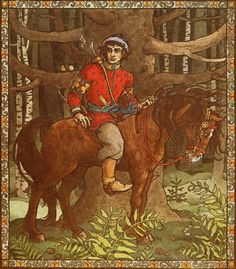 The handsome prince riding his horse in the forest as he heard Rapunzel's sweet and lonely singing voice from Rapunzel illustrated by Trina Schart Hyman Handsome Prince, Pre Raphaelite, Faeries, Folklore, Rapunzel, Witchcraft, Illustrators, Fairy Tales, Illustration Art