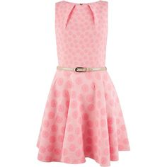 Closet Pink Daisy Floral Belted Skater Dress ($83) ❤ liked on Polyvore featuring dresses, pink, women, skater dress, fit flare dress, floral skater dress, floral print skater dress and fitted dresses