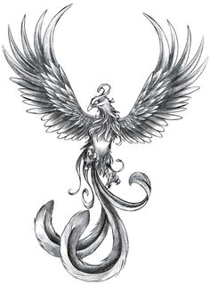 phoenix bird thigh tattoo - Google Search