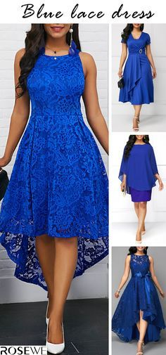 Blue lace dress & big sale, Choose your favorite d… Dressy Dresses, Stylish Dresses, Simple Dresses, Elegant Dresses, Cute Dresses, Beautiful Dresses, Prom Dresses, Latest African Fashion Dresses, African Dresses For Women