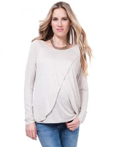 Draped Maternity & Nursing Top Cropped Front