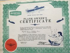 Plank owner certificate bike bag pinterest certificate us navy plank owners certificate yelopaper Image collections