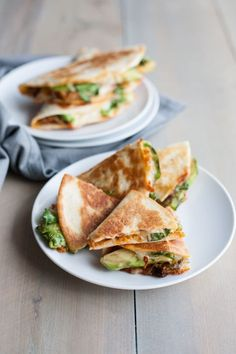 These cheesy Kimchi Quesadillas with avocado are a delicious snack or cocktail party appetizer.