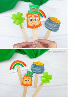 These free printable popsicle stick puppets are perfect for St. Patrick's Day! Download and let the kids have some imaginative play. Activities For Kids, Crafts For Kids, Popsicle Sticks, Imaginative Play, Kids House, Popsicles, Early Childhood, Teaching Kids, St Patricks Day