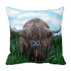 Scottish Highland Cow Painting Throw Pillow. I was filming down in Campbeltown in Kintyre, Scotland, when this very inquisitive highland cow came right up to be the star of the show. His pals were taking it all in their stride, but this wee fella kept edging closer and closer to the camera. It was such a beautiful day for filming and so hot, and i've tried to reflect that in the deep hues of the painting.